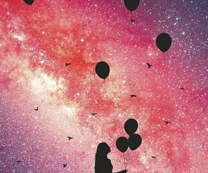 girl, balloons, and stars image