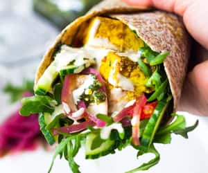 salad, wrap, and chicken shawarma image