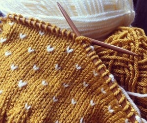 yellow, aesthetic, and knitting image