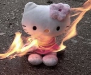 hello kitty, aesthetic, and fire image