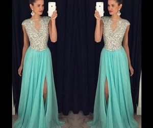 evening gown, formal dress, and beaded prom dresses image