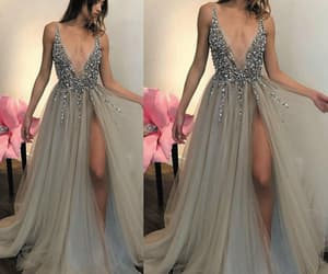evening gown, beaded prom dress, and robe de soirée image