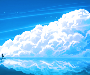 clouds, anime, and sky image