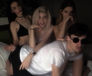 boy, girls, and friends image