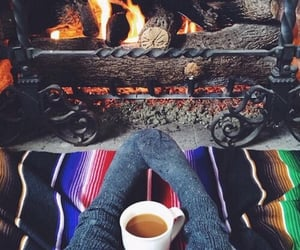 blankets, fall, and fire image