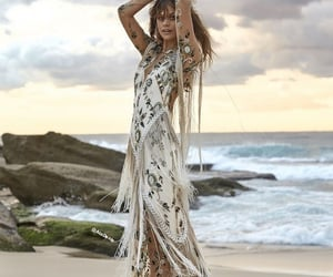 wedding dress and : floral bohemian image