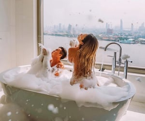 bath, couple, and love image