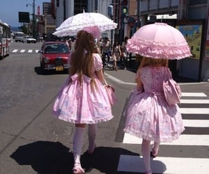 dress, kawaii, and parasol image