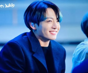 blue hair, jungkook, and smile image