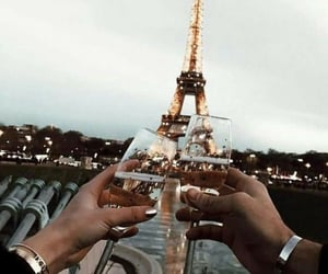 champagne, couple, and paris image