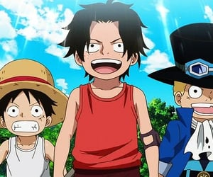 anime, one piece, and ace sabo luffy image