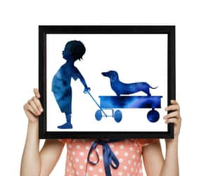 etsy, watercolor painting, and boy and dog image