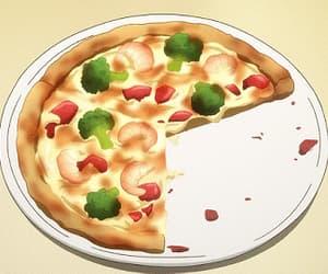 gif, pizza, and anime food image