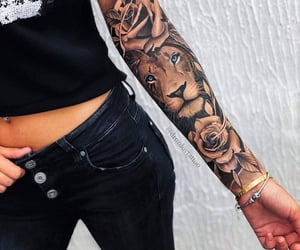 arm, black, and lion image