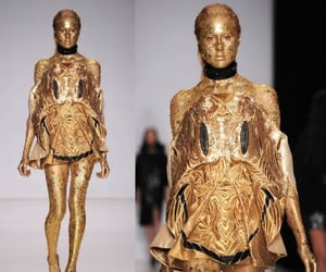 catwalk, gold, and dress image