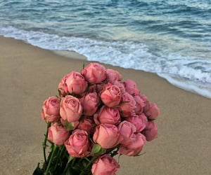beach, love, and flowers image