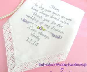 embroidered, hankerchief, and wedding gift image