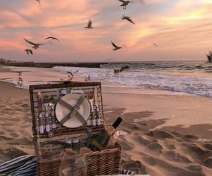 beach, picnic, and sand image