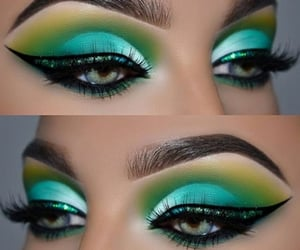blue, green, and makeup image
