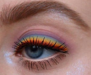 makeup, rainbow, and eye image