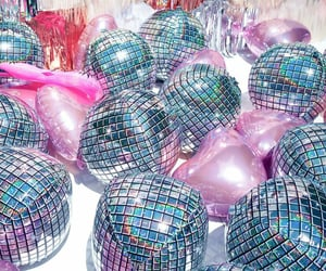 balloons, disco, and sparkly image