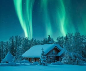 cabin, finland, and northern lights image