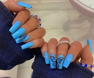 blue, butterfly, and jewelry image