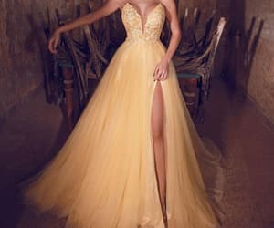 evening gown, yellow prom dress, and cheap prom dresses image