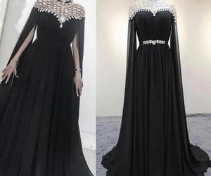 black prom dress, robe de soirée, and beaded prom dress image