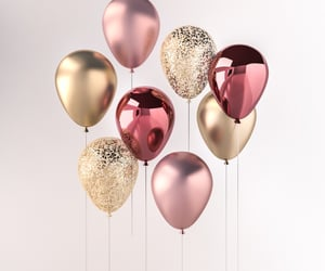 balloons, glitter, and gold image