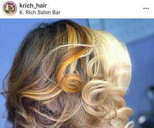 bleached, curled, and silk press image