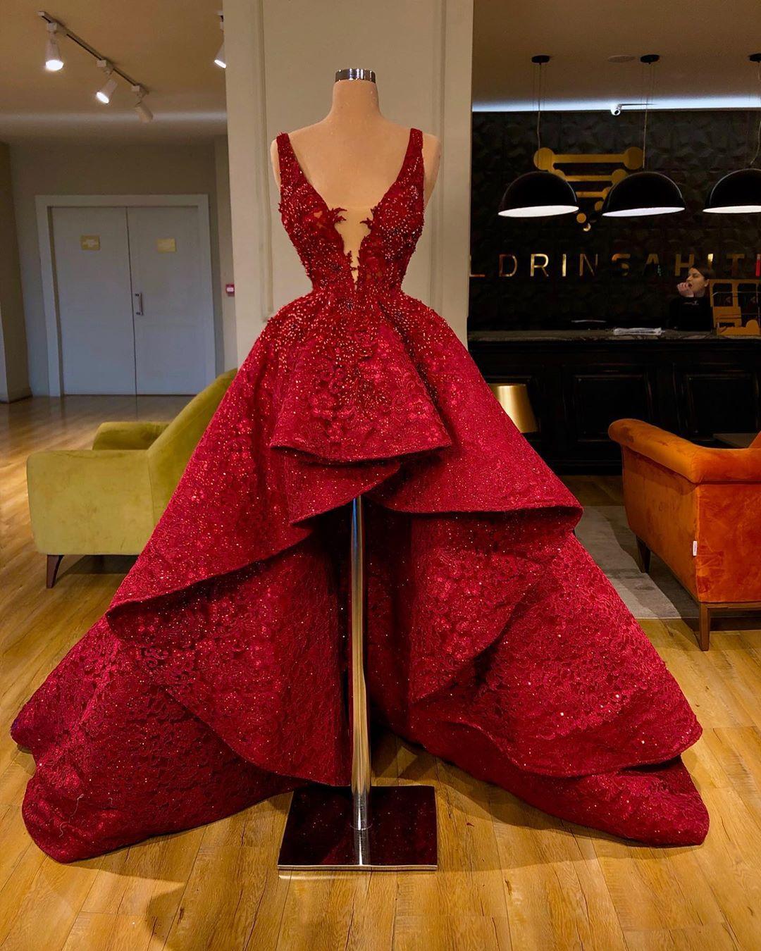 Luxus Cocktailkleider Rot Spitze Abendkleider Kurz Vorne Lang Hinter Modellnummer Yy454