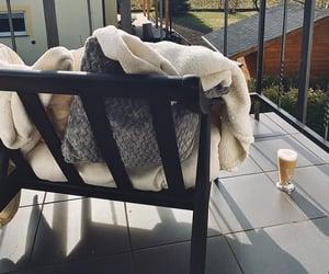balcony, blanket, and coffee image
