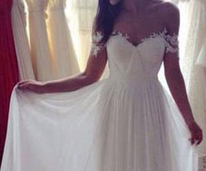 chiffon, off the shoulder, and wedding dresses image