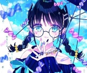 anime girl, rainy, and blue image