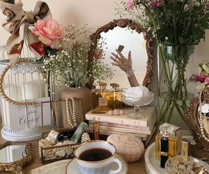 books, coffee, and cosmetics image