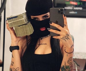 bad girl, money, and ski mask image