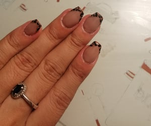 animal print, nude nails, and french nails image