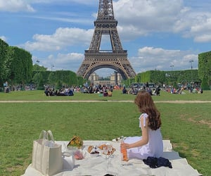 eiffel tower, picnic, and summer image