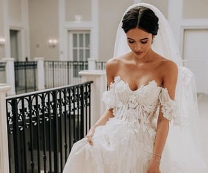 wedding, white, and dress image