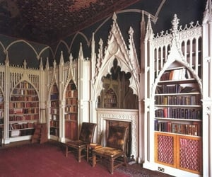 library, book, and gothic image