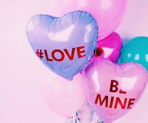balloon, heart balloon, and hearts image