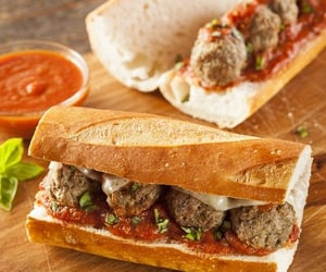 meatballs, crock pot, and sandwiches image