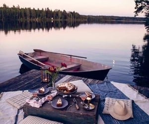 lake, boat, and nature image