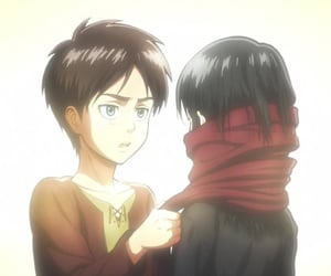 anime, mikasa, and eren jaeger image