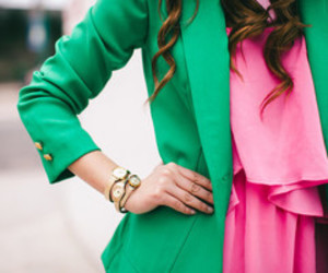fashion, green, and pink image