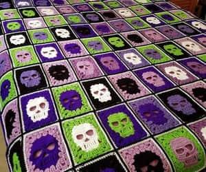 calavera, skull, and crochet image
