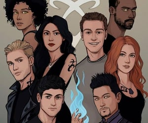 clary fray, alec lightwood, and magnus bane image