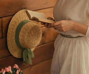book, dress, and cottage image