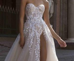 dress, glitter, and wedding image